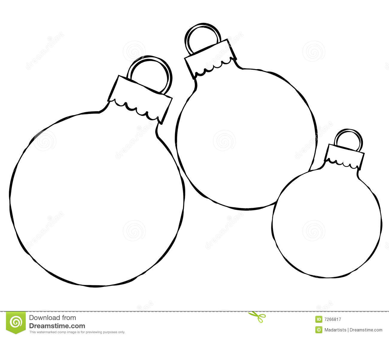 Christmas Ornament Line Art Royalty Free Stock Photography.