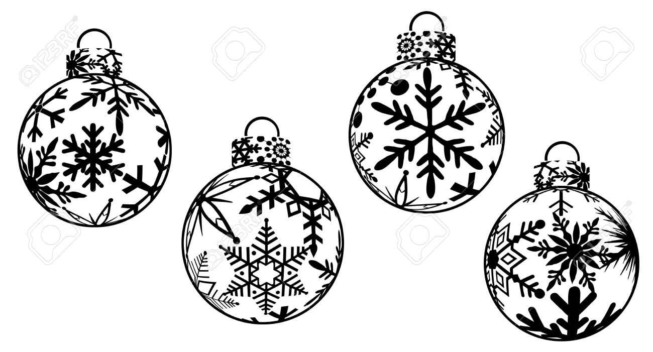 Christmas Ornaments Black And White Clipart Stock Photo, Picture.