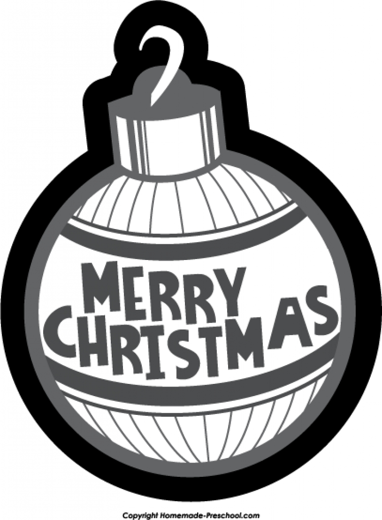 Christmas ornament black and white christmas ornament clipart.