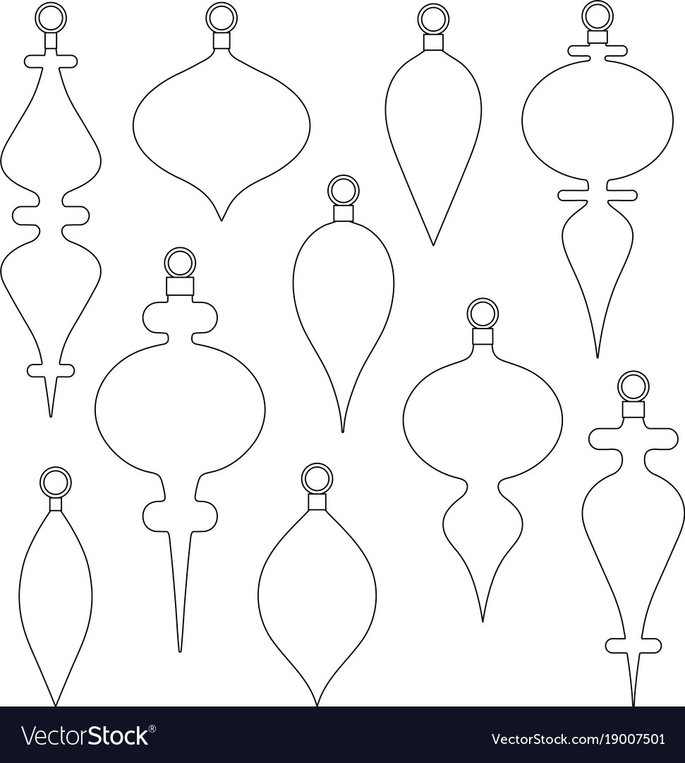 Christmas ornament outline shapes clipart.