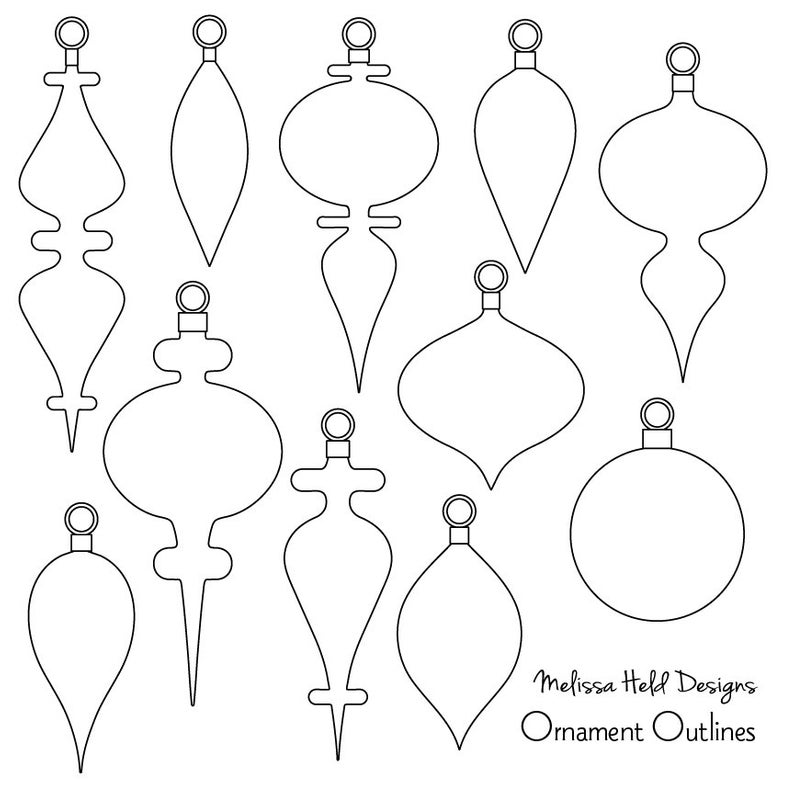 Black Outline Christmas Ornaments Digital Clipart.