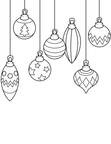 Christmas Ornaments coloring page.