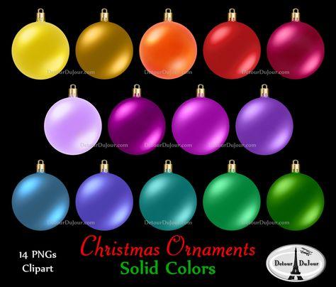 14 Assorted Christmas Ornaments Clipart, Plain Christmas.