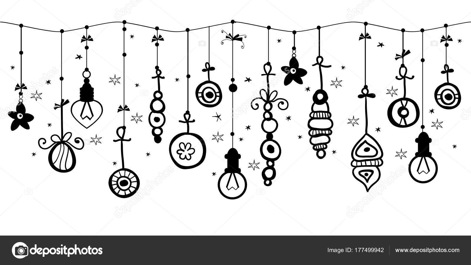 Christmas Ornament Border Clipart Black And White.