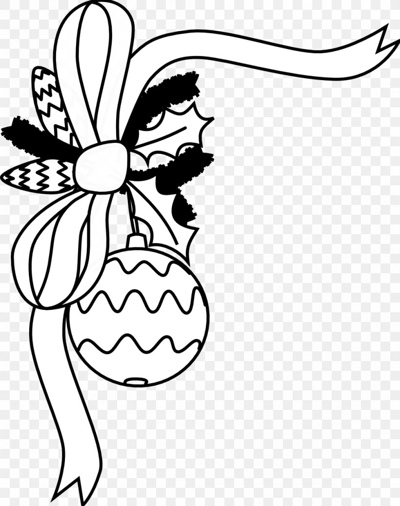 Santa Claus Christmas Ornament Black And White Clip Art, PNG.