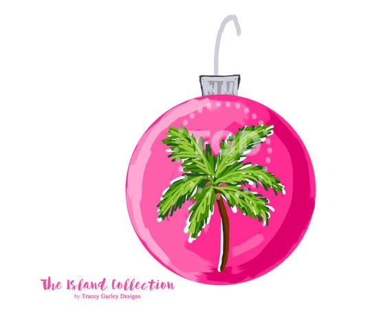 Preppy Pink Christmas Ornament Clip Art.