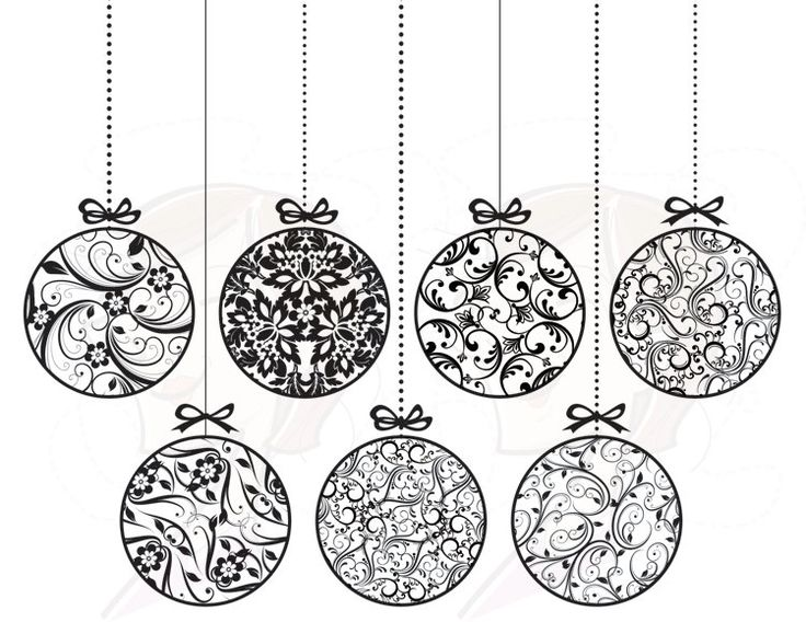 Christmas Ornament Clip Art Black And Whit #184499.