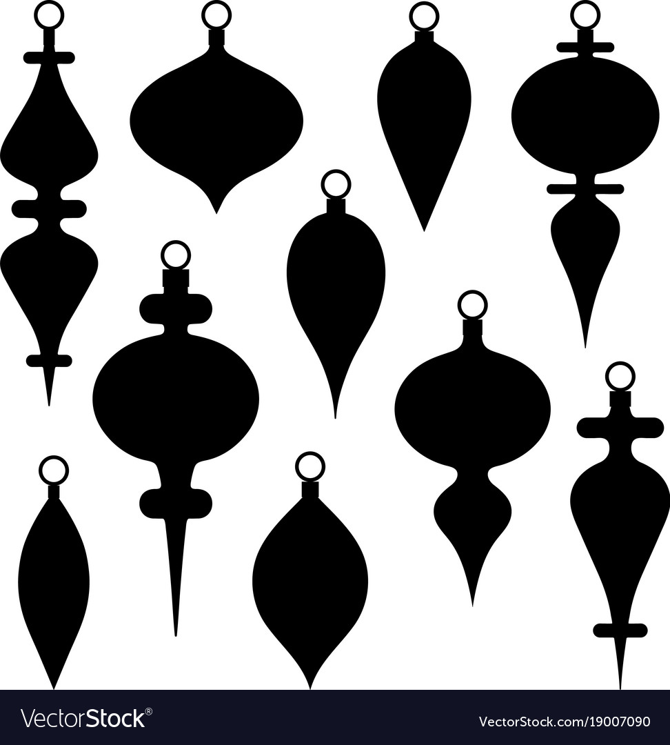 Black silhouette christmas ornament clipart.
