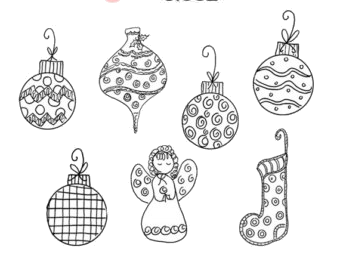 Christmas Ornament Clipart Black And White Transparent Png.