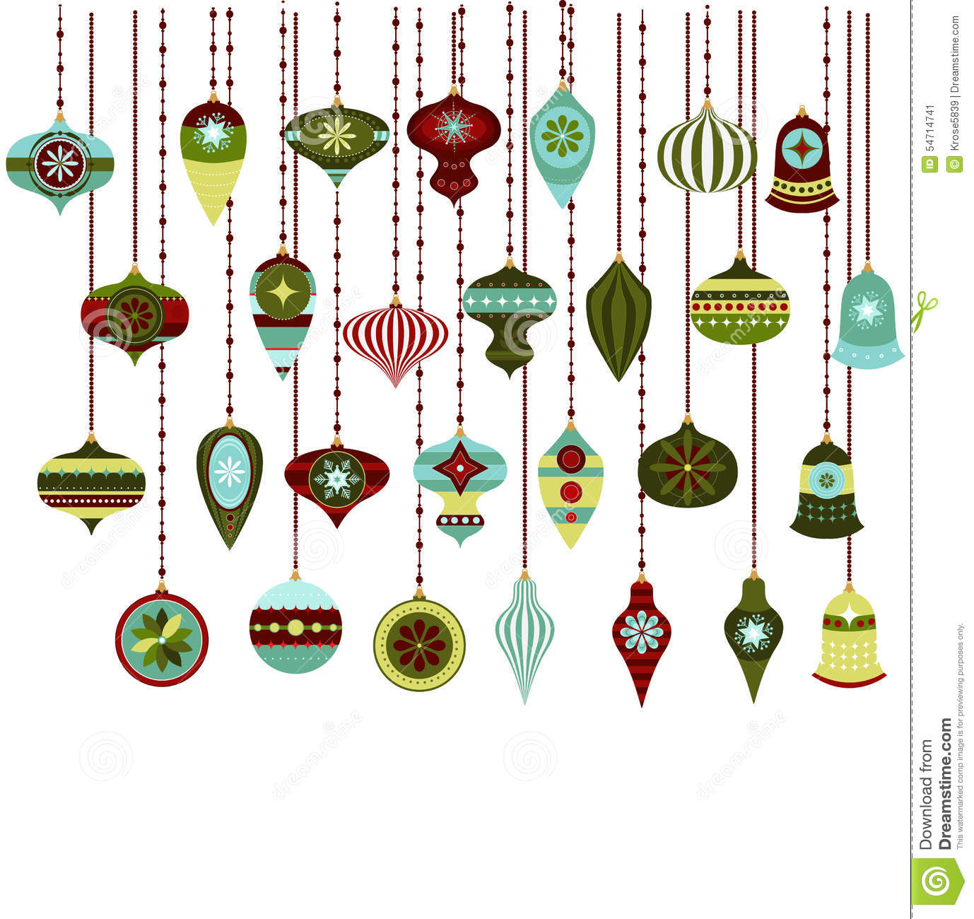 Retro Christmas Ornaments Vector Clipart Stock Vector.