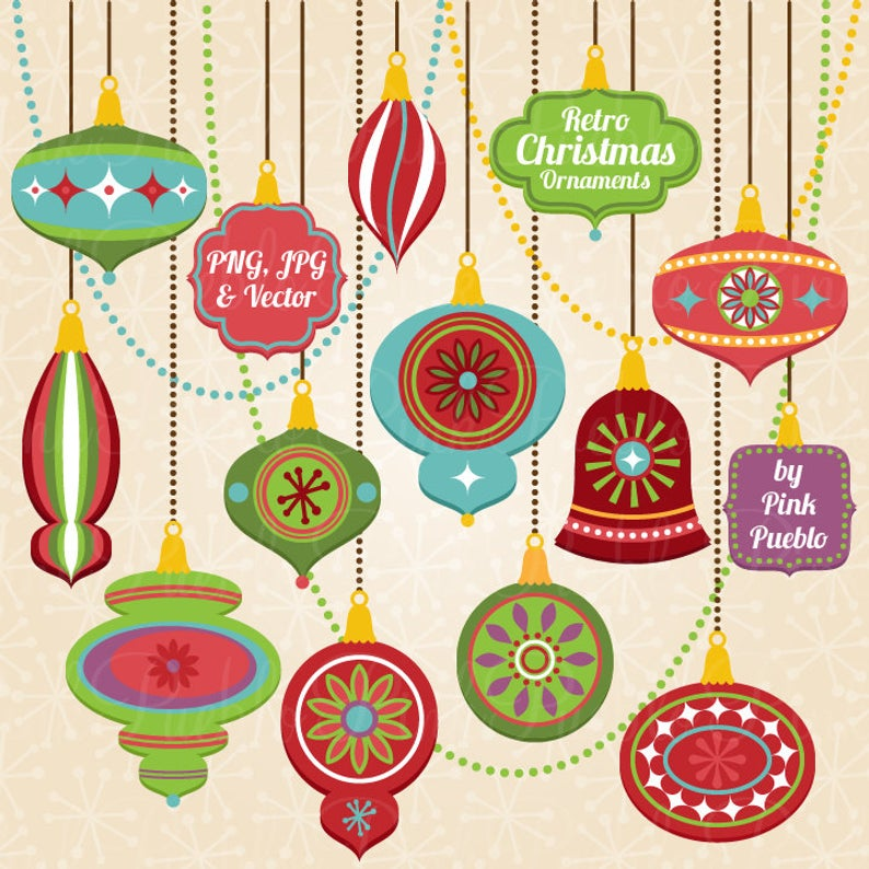 Retro Christmas Ornament Clipart Clip Art, Vintage Christmas Decorations  Clipart Clip Art Vectors.