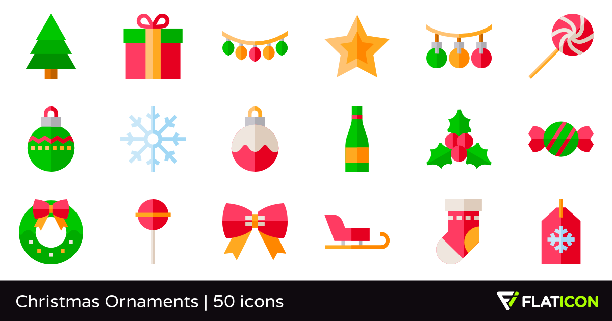 Christmas Ornaments 50 free icons (SVG, EPS, PSD, PNG files).