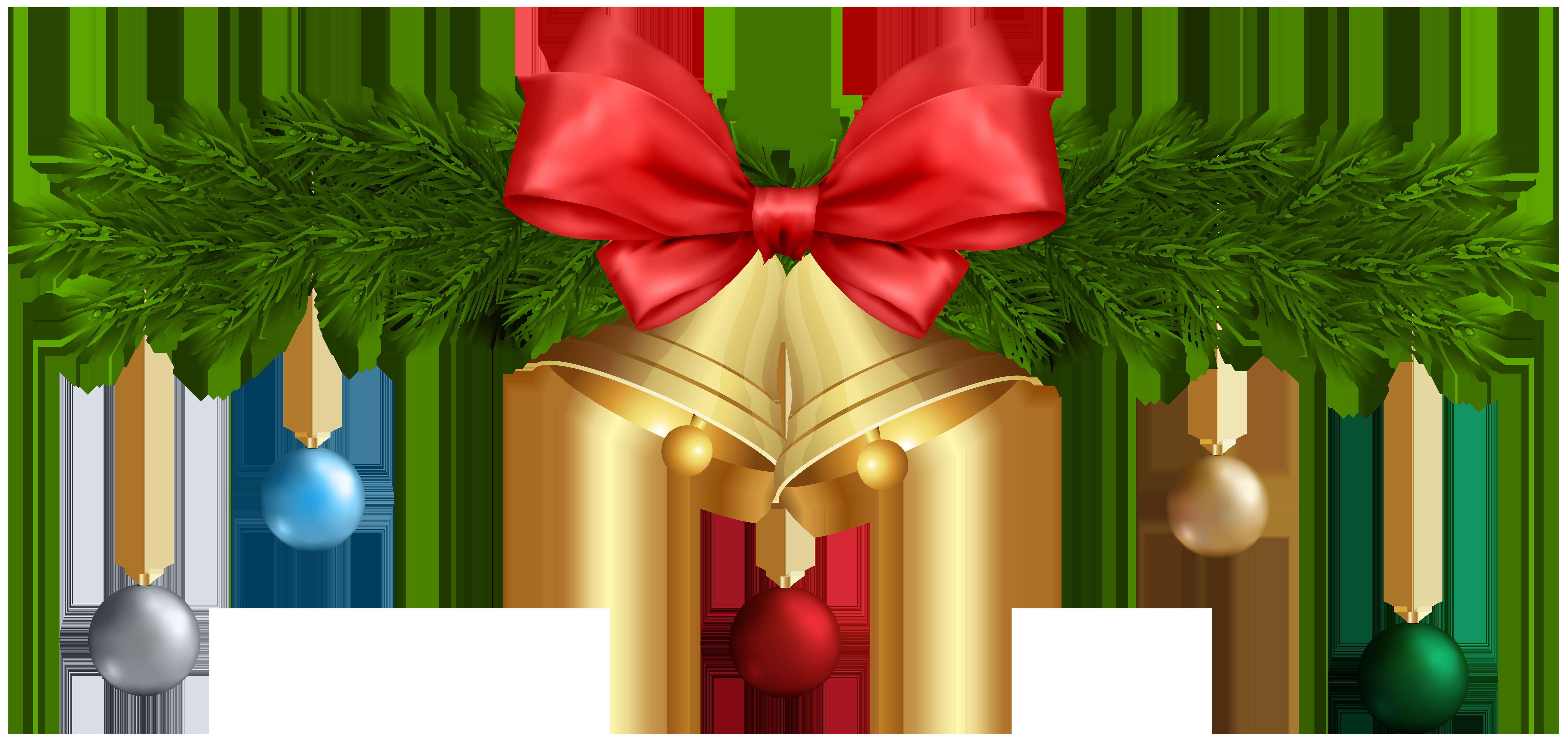 Christmas Bells and Ornaments PNG Transparent Clip Art.