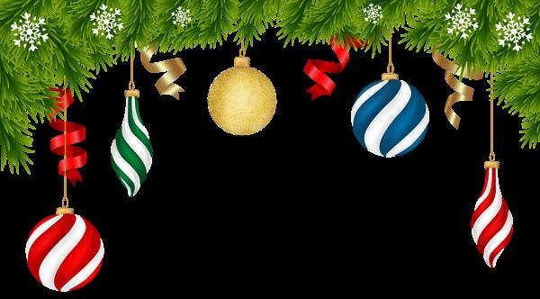Christmas Deco Ornaments Transparent Clip Art Image.