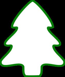 Green Christmas Tree Outline clip art.