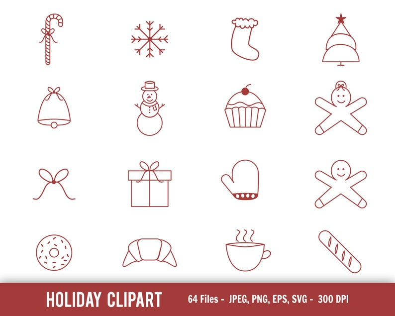 Christmas outline clipart, Holiday clipart, Holiday outline clipart,  Holiday treats clipart, Christmas treats clipart, festive outline art.