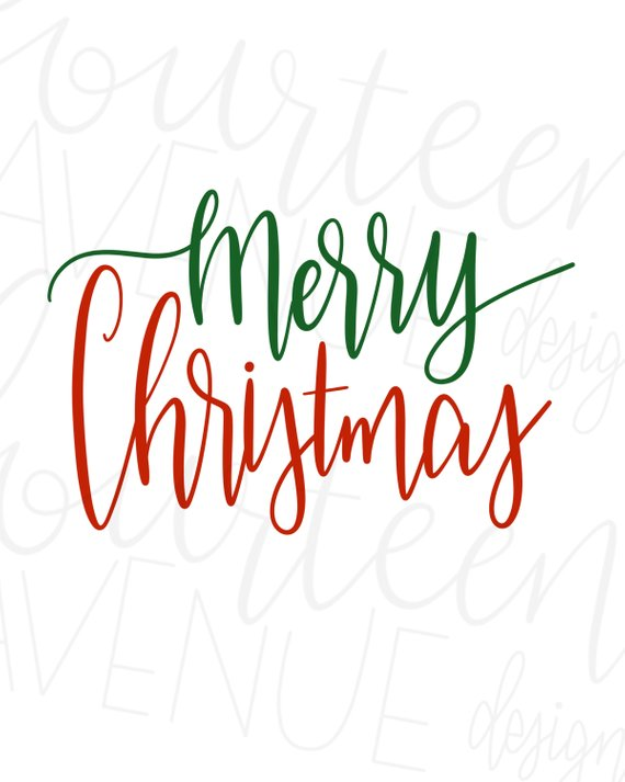 Merry Christmas SVG, Hand Lettered, Christmas Text Overlay.