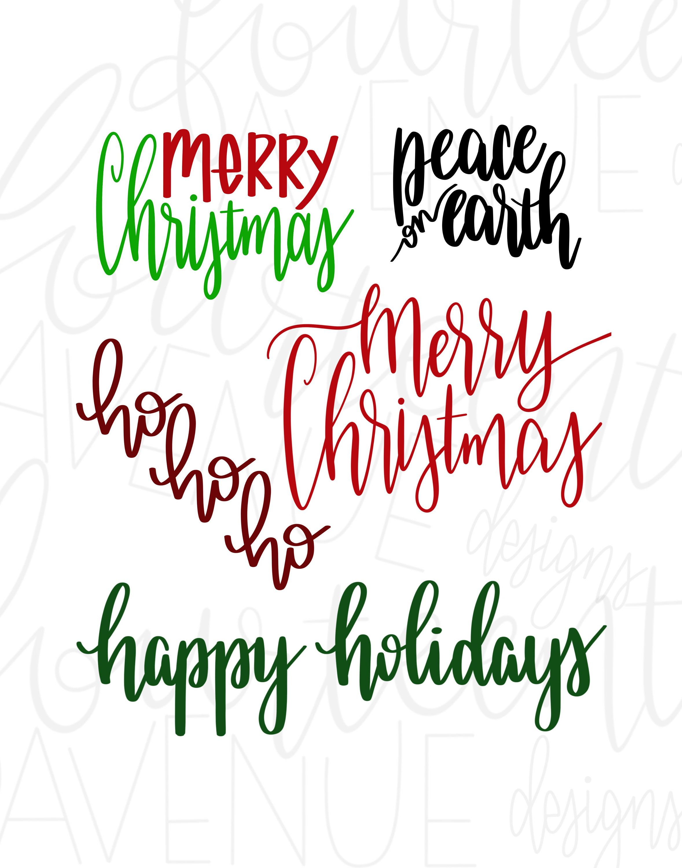 Christmas Overlays PNG / Hand Lettered Holiday Overlays / Christmas.