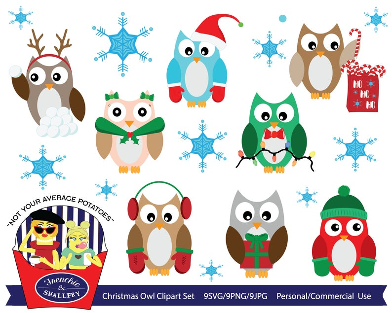 Christmas Owls Clipart, Owl Clipart, Holiday Owls, Commercial Use, SVG,  Personal Use, Christmas, Winter Owls, Christmas Clipart, Clipart.