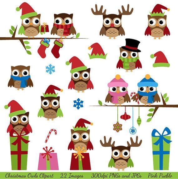 Christmas Owls Clipart Clip Art, Winter Owls Clip Art Clipart with.