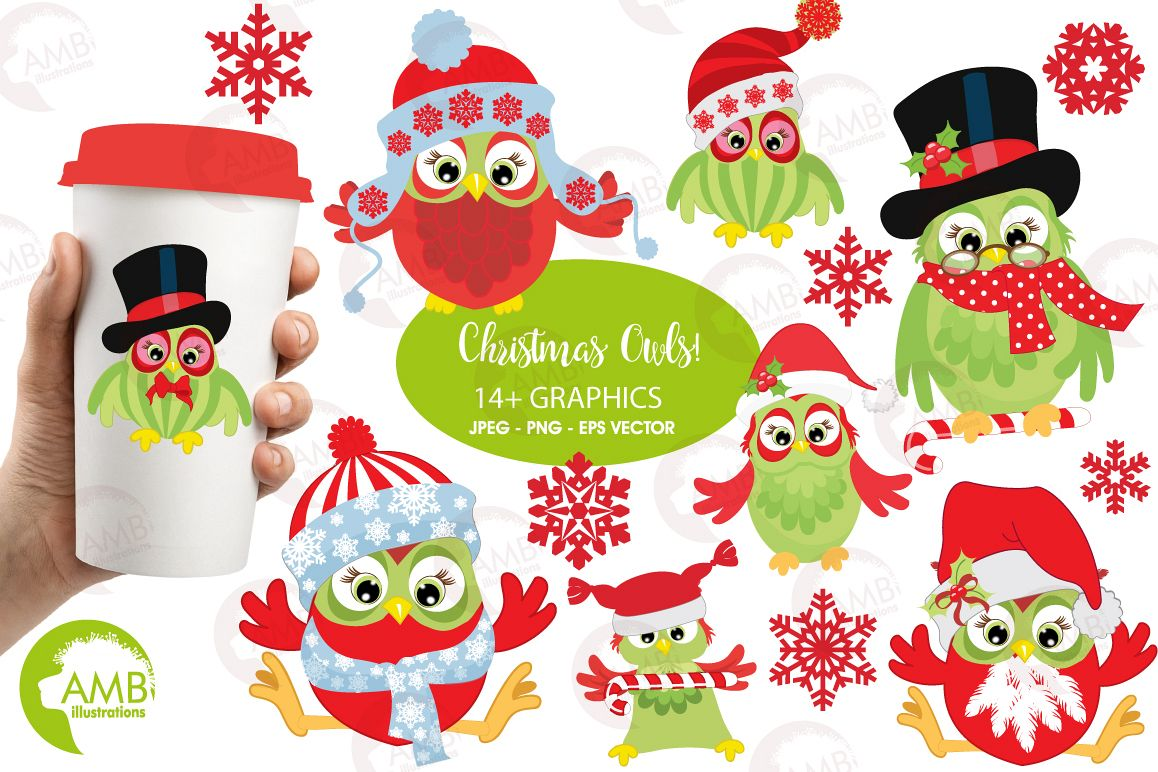 Christmas Owls clipart, graphics, illustratins AMB.
