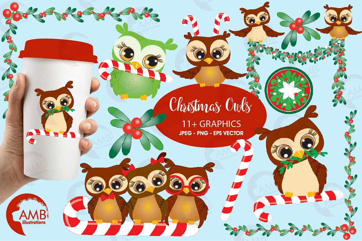 Christmas Owls cliparts, Xmas Owls cliparts AMB.