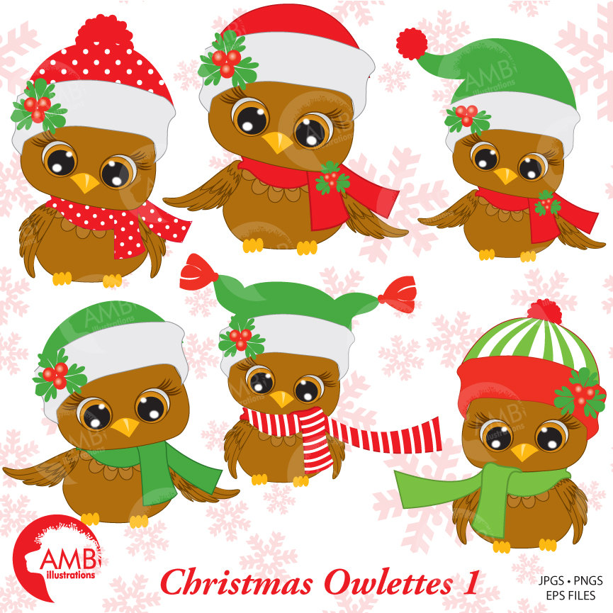 Christmas Owls clipart, Baby Owls Clipart, Owls in Winter Colors, AMB.