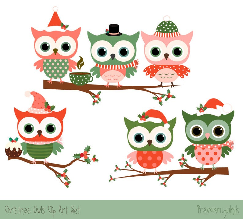 Christmas owl clipart set, Cute Christmas clipart, Cute owl clip art,  Winter clipart, Red owl drawing, Digital green owl on tree branch.