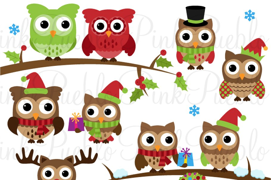 Cute Christmas Owl Clipart & Vectors.
