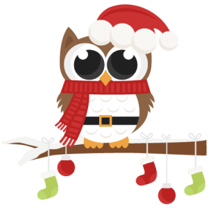Santa Owl scrapbook clip art christmas cut outs for cricut cute svg.