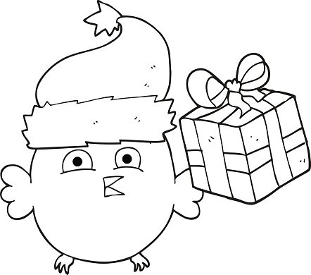 black and white cartoon christmas owl Clipart Image.