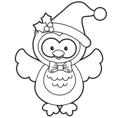 Christmas Owl Clipart Black And White.