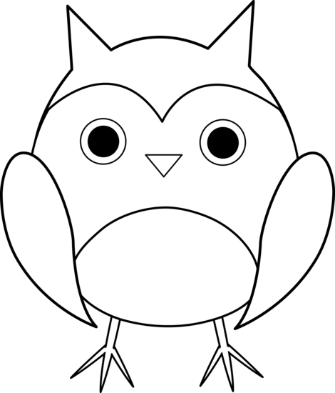 Cute Owl Clipart black and white.