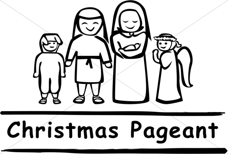 Black and White Christmas Pageant Word Art.