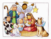 Stock Illustration of Christmas Pageant in Black and White.