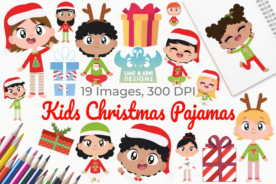 Kids Christmas Pajamas Clipart, Instant Download Vector Art.