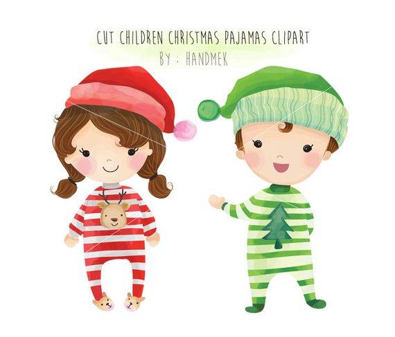 Christmas pajamas, Cute Christmas, Christmas children Clipart.