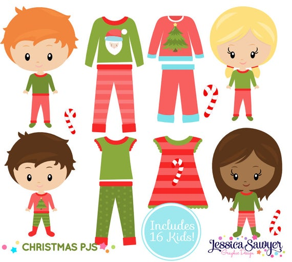 INSTANT DOWNLOAD, Christmas Pajama Clipart for personal and commercial use.
