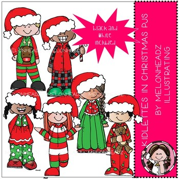 Kidlettes in Christmas pajamas clip art.