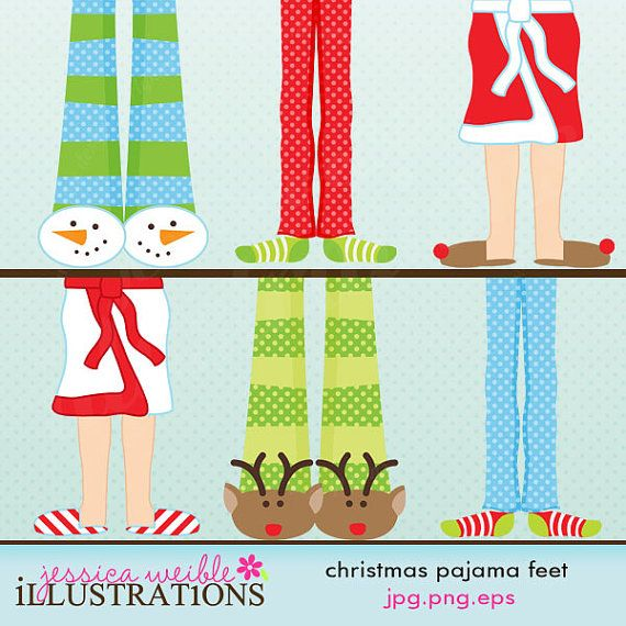 Christmas Pajama Feet Cute Digital Clipart, Christmas Clip art.