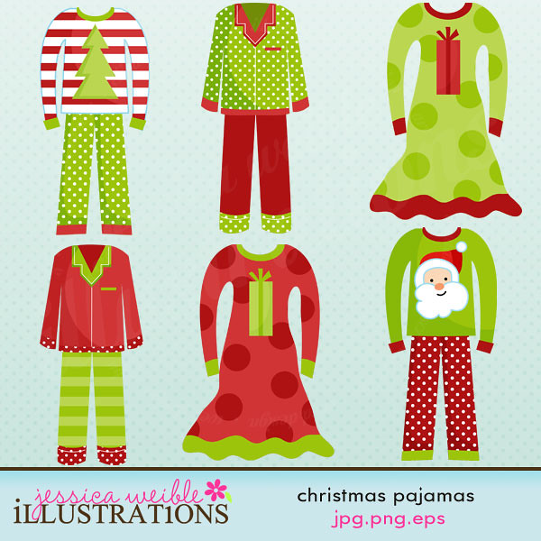 Christmas Pajamas Cute Clipart.