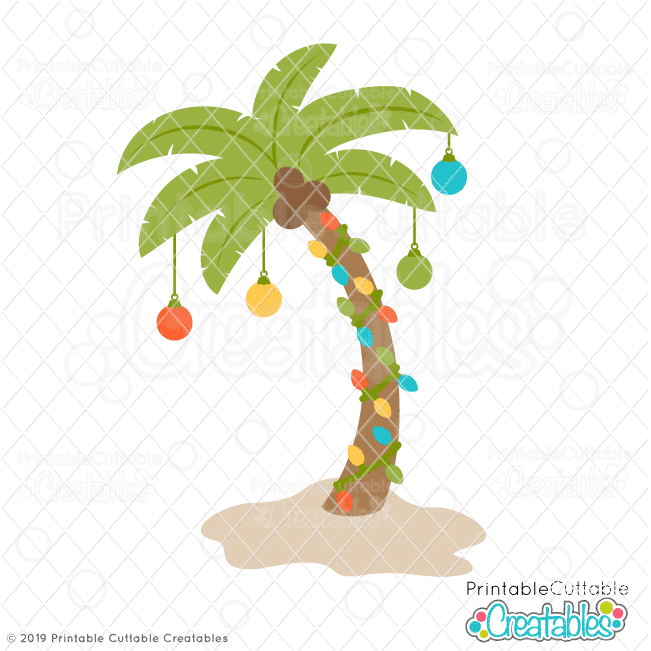 Christmas Palm Tree FREE SVG File for Cricut & Silhouette.
