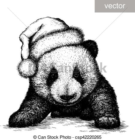 panda, black and white engrave. Christmas hat. vector.
