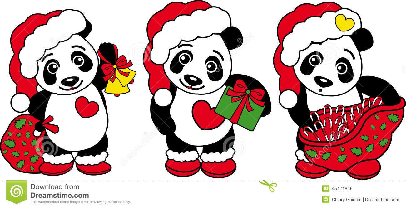 Three Christmas Panda Bear! Stock Vector.
