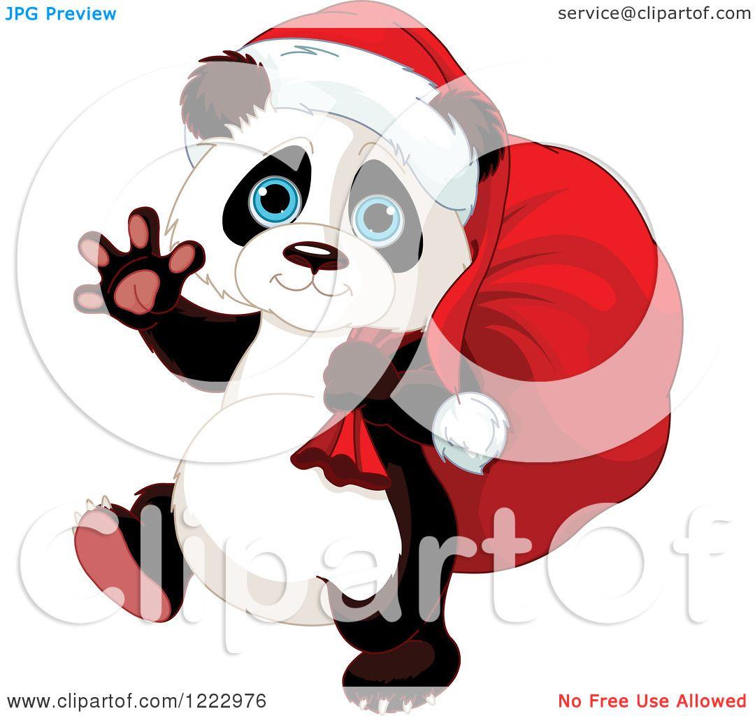 Clipart of a Cute Christmas Panda Carrying Santas Sack and Waving.