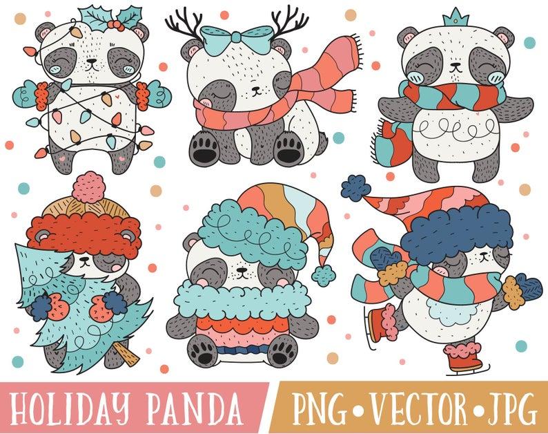 Cute Christmas Panda Bear Clipart Images, Cute Holiday Panda Clipart,  Kawaii Panda Clipart, Christmas Animals Clipart, Christmas Clip Art.