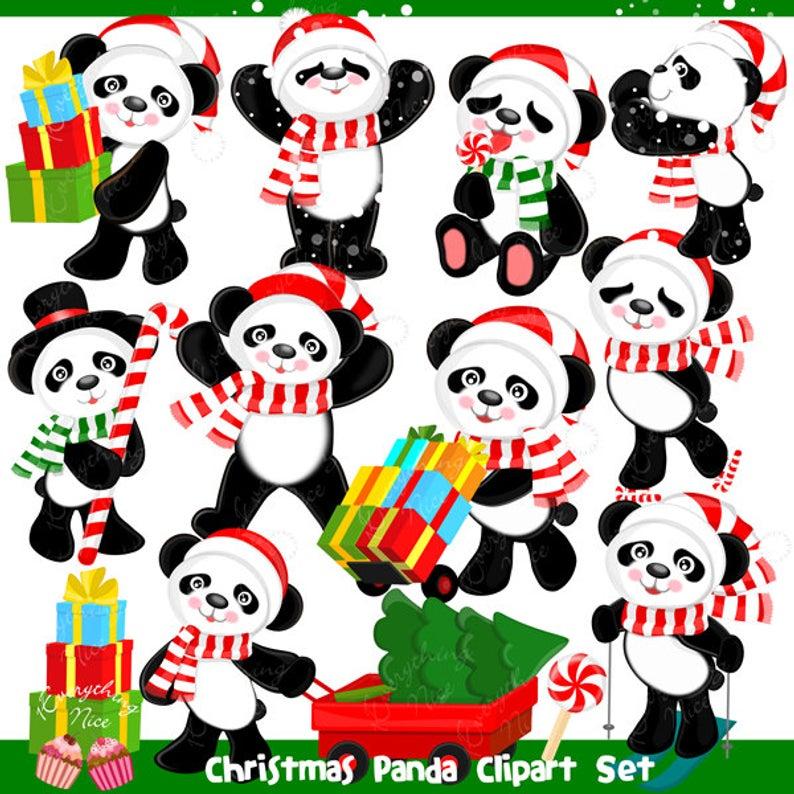 Christmas Panda Clipart Set.
