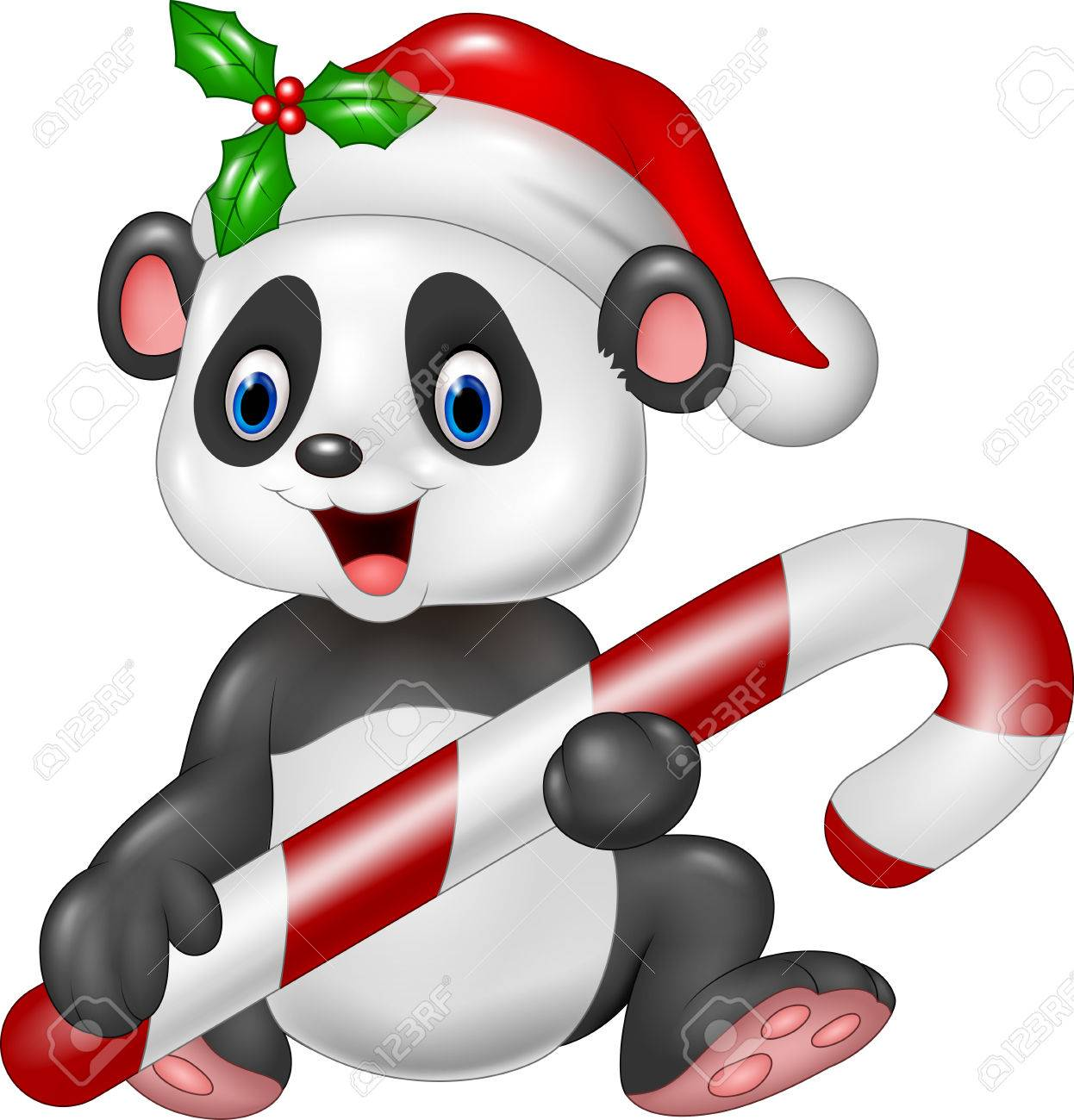 Vector illustration of Cute baby panda holding Christmas candy.