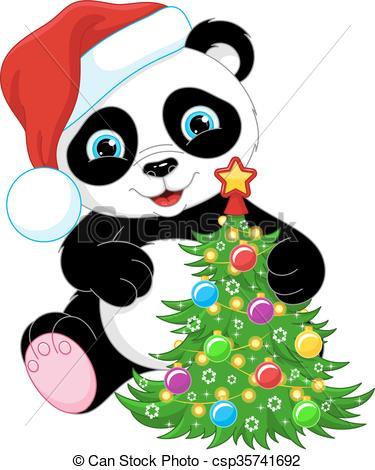 Panda and Christmas Tree.