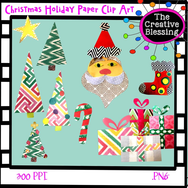 Christmas Holiday Paper Clip Art. Digital Stickers.